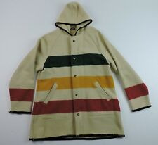 Woolrich Women's Size Large Hudson Bay 3 Stripe Wool Zipper Hoodie Jacket Coat