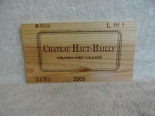 2005 CHATEAU HAUT BAILLY GRAND CRU WOOD WINE PANEL