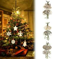 12Pcs Wood Christmas Snowflake/Star/Angel/Elk Ornaments Hanging Xmas Tree Decor