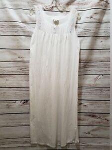Lot 2 Vintage Barbizon 100% Cotton White Long Lace Embroidered Nightgown Sz S