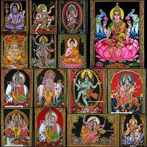 Wall Hanging Small Poster Hindu Lord Ganesh Sarswati Laxmi Cotton Tapestry Art