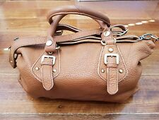 Camel leather satchel bag - small but spacious