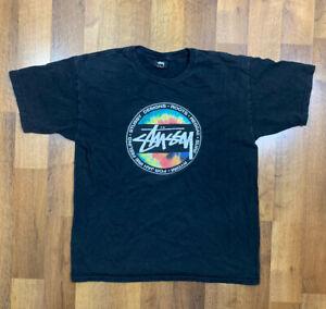 VIntage 90s Stussy Reggae Roots Short Sleeve T Shirt Men's M Black Skateboard