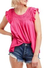 Free People OB819473 Coconut Gathered Flowy Shirt Top Pink ( S ) Free Shipping