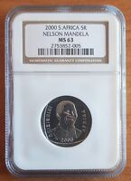 South Africa Year 2000 5R Nelson Mandela R5 Smiley Madiba Coin NGC MS 63