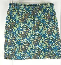 Eddie Bauer Womens 8 Blue Green Brown Leaf Print Cargo Skirt 6 Pocket K52