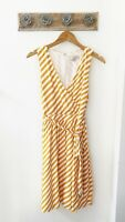 Ann Taylor LOFT Yellow Striped V Neck Fit & Flare Women's Dress Size 8