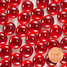 """Dome Shaped 5/8"""" Glass Gems - Translucent Ruby Color - 4 Oz. (25 to 30 Pieces)"""