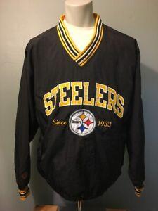 Vtg Pittsburgh Steelers Champion Nylon Windbreaker Jacket Mens M Pullover Coat