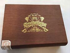 Conquista Toro Empty Wood Cigar Box ~ Brown with Gold Trim ~ Honduras