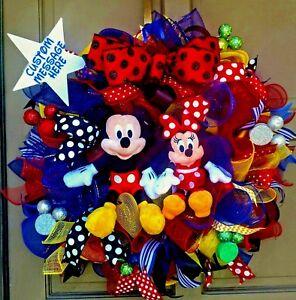 Handmade Mickey Mouse Minnie Mouse Deco Mesh Custom Everyday or Birthday Wreath