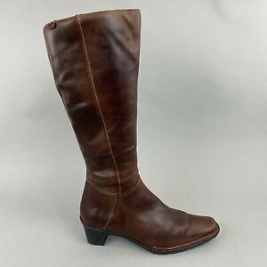 Pikolinos Brown Leather Knee High Zip Up Mid Heeled Booties Boots Size 39 UK6