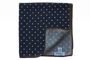 Battisti Pocket Square Navy with white polkadot & brown trim, pure wool