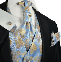Alaskan Blue Paisley Tuxedo Vest, Tie and Accessories by Paul Malone