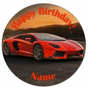 Lamborghini Sunset Orange Personalised Edible Icing Cake Topper or Ribbon