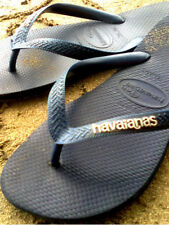 BNWT HAVAIANAS LOGO METALLIC LIGHT GOLD Navy-35/36 CLEARANCE SALE