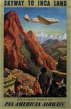 VINTAGE PAN AM i voli verso il Perù viaggi Poster A3 RISTAMPA