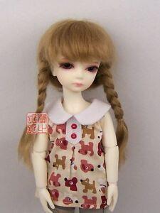 "Brown Color  8-9"" Mohair 1/3 BJD Super Dollfie SD Mohair Pigtail Wig"
