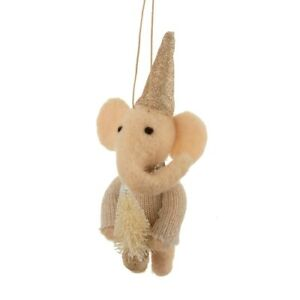 Sass & Belle Felt Elephant with Christmas Tree Hat Jumper Hanging Decoration Fun
