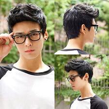 Herren Männer Schwarz Jungenhaft Mode Kurz Perücke Haare Kostüm Strähnen Wig