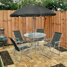 Garden Patio Set 4 Seater Dining set Parasol Glass Table And comfortable chairs