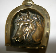 Vintage Brass Horse Head inside Horseshoe Ornament or Pin Key Coin dish