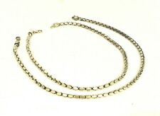 Womens Jewelry Set of 2 Necklaces Chains Oval Link Oxidized Silver Lobster Clasp