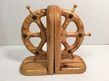 Nautical Wood Bookends Book Ends Carved Ships Wheel Nice Gift