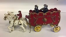 Vintage Cast Iron Toy Overland Circus Band Wagon Music Animals Horses Antique