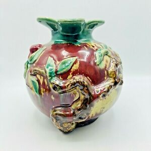 "Vtg. Majolica Vase Planter Pomegranate Tree Pottery Red Green Glaze 8.75"" Tall"