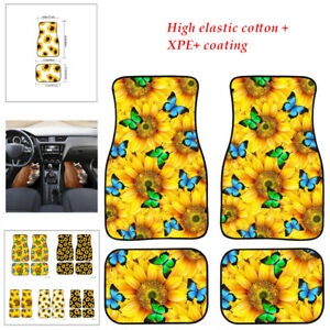 4PCS/set Floor Mats Universal Printed Sunflower Mat Fit for Car SUV Interior