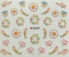 Nail Art 3D Decal Stickers Pastel Flowers Flower Wreath Daisy Tulips E337