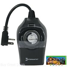 Intermatic HB35K 10-Amp Outdoor Timer Controls LED CFL Lights 2 Outlets Plugs
