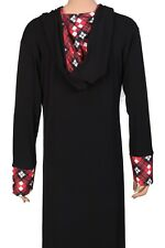 Abaya Dress Plain Black Hooded Winter Warm Long Sleeve Women Maxi Dress UK Made