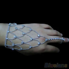EG_ Chic Womens Wedding Crystal Jewelry Hand Harness Bracelet Chain Finger Ring