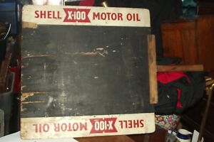 RARE VTG SHELL X 100 MOTOR OIL sign DOUBLE SIDED racing lap board chalk BOARD