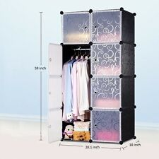 8 Cube Portable Closet Storage Organizer, Clothes Wardrobe Cabinet with doors