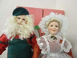 "Paradise Galleries Patricia Rose 16.5"" Santa & Mrs. Claus Porcelain Dolls"
