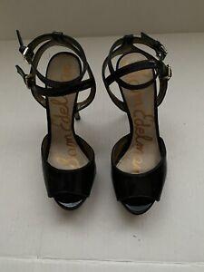 Sam Edelman Black Patent Leather Platform Sandal Open Toe Strappy Stilettos 8.5