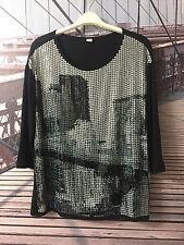 s.OLIVER * T-Shirt * Schwarz * Front mit Pailletten * 3/4-Arm * Gepflegt * Gr.M