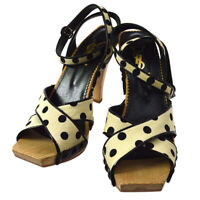 Yves Saint Laurent Polka Dots Shoes Sandals Ivory Black #37 Authentic A51915