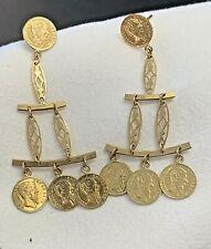 1865 Mexico Gold Coin Earrings Imperio Mexicano Maximiliano Emporador