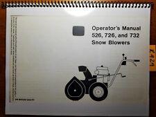 John Deere 526 S/N -5552, 726 S/N -8970, 732 Snow Blower Owner Operator Manual