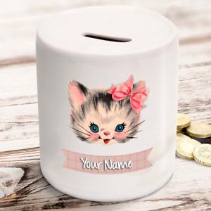 Personalised kids childrens money box in cat kitten design - gift present idea