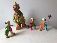 Vintage 1970s Paper Mache Folk Art Alvarez Mexico Clowns Lot