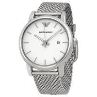 Emporio Armani Mens Watch Mesh Bracelet White Dial AR1812