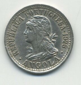 Angola 2 Macutas 1928 KM 67 XF- Copper-Nickel coin