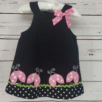 Bonnie Jean Pink Lady Bug Black Corduroy Infant Dress 12m   7E