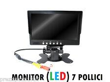 """MONITOR LCD LED TFT 7"""" 2 INGRESSI PER VIDEOSORVEGLIANZA TELECAMERA RETROMARCIA"""