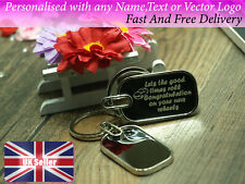 Personalised rectangle keyring with black background any name text logo brand gi